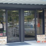 Roll-Up Shutter on a main entrance on a pharmacy to assist with burglar protection.